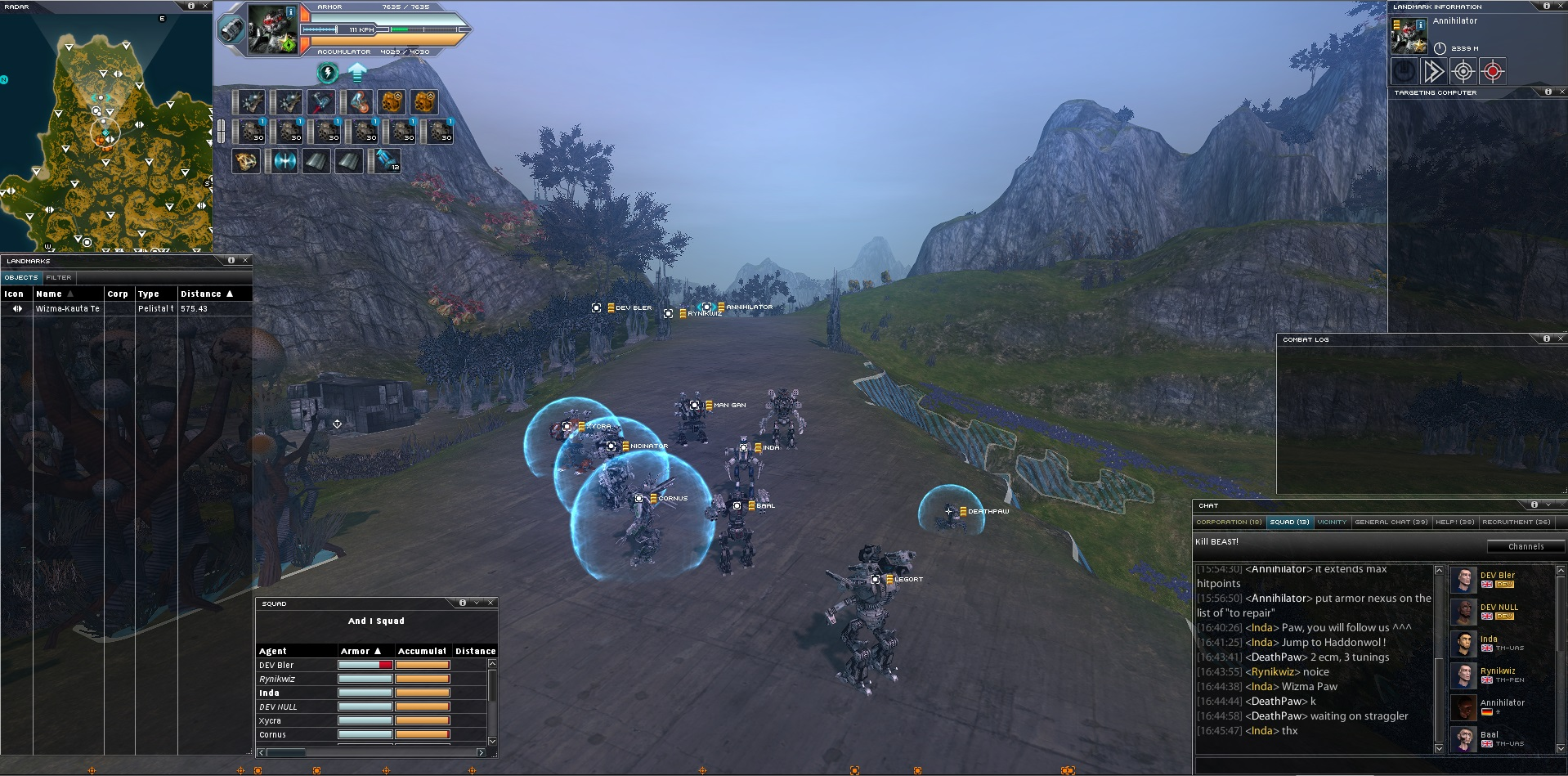Screen from our PVP event testing weekend